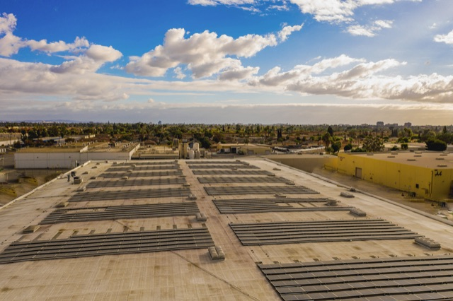 Rooftop view of solar panels at vistapaint